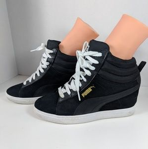 c1625e538ea1 Puma 356049 Women s Black Suede Lace Up High Tops